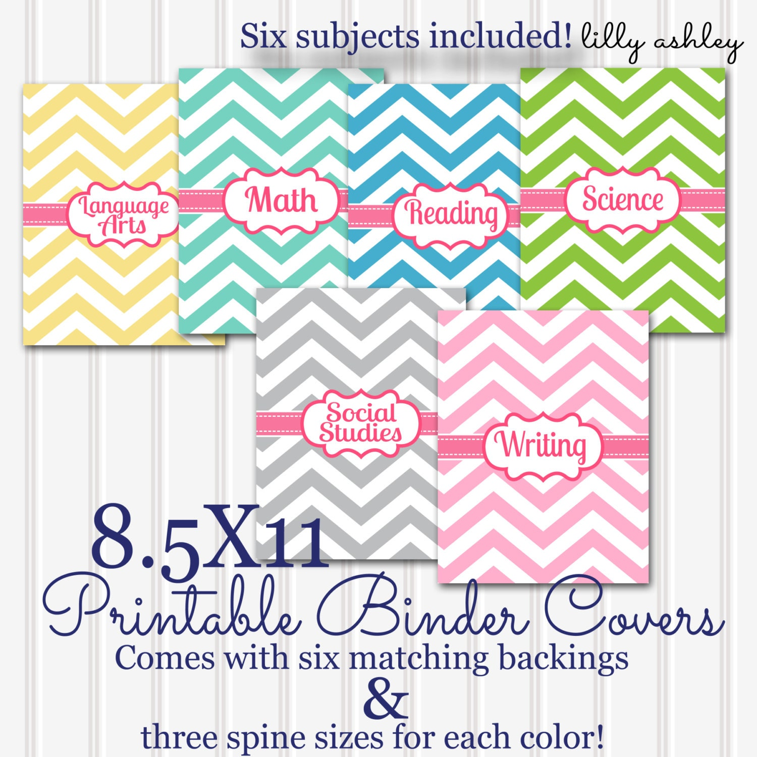 Printable Binder Covers SET 6 Subjects 8.5x11 JPG Not