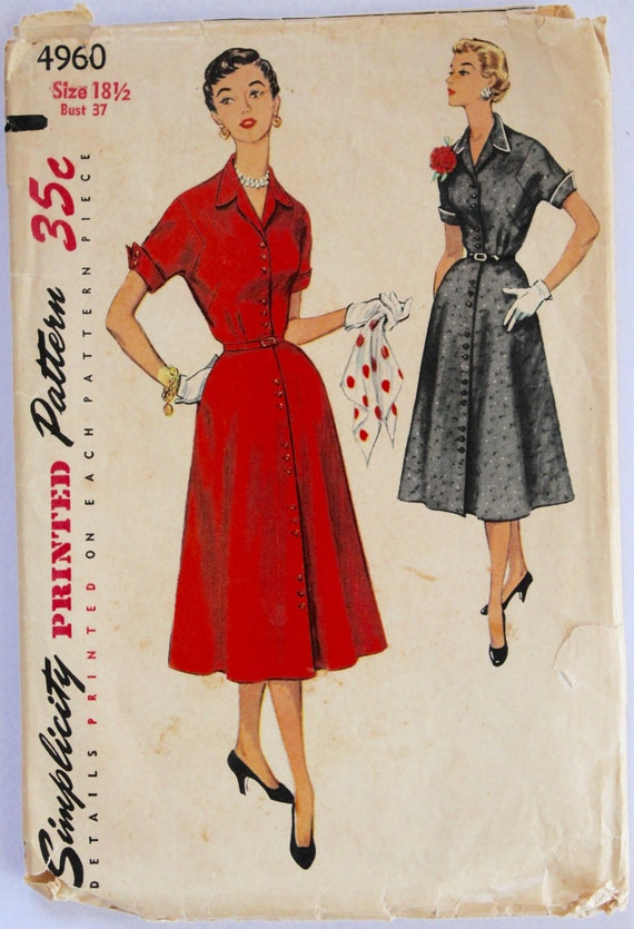 Shirt Dress Pattern Vintage 1950s Women 39 S Button Down