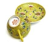 Chinese Teacup And Saucer, Tea , Sunny Yellow ,  Chinese Porcelain , Asian Decor, Tea Set