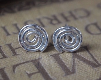 sterling silver stud earrings, studs, silver studs, spiral silver earrings, handmade jewelry
