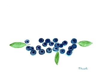 Blueberries watercolour original watercolor painting 10 x 7 inches fruit watercolour