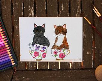 Kitty Cups, Original Cat Art, Watercolor Cat, Cat Illustration, Cat Painting, Cat Portrait, Cute Kittens, Cute Cat, Cat Lover, Kitchen Art