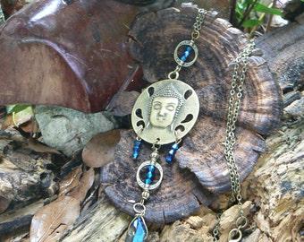 spiritual necklace statement necklace zen buddha necklace bohemian necklace meditation necklace quartz crystal yoga boho gypsy style