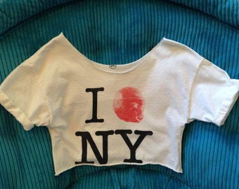 White Cropped Tshirt Crop Tee I Heart New York Love Replaced With EA Games Halo Mask Gamer Nerd Chic NYC