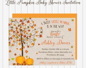 Little Pumpkin Baby Shower Invitation/Fall Baby Shower Invitation/Little Pumpkin Invitation/Fall Leaves Baby Shower Invitation/Lil'Pumpkin