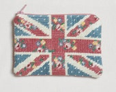Cath Kidston Inspired Hand Embroidered Floral Union Jack Purse
