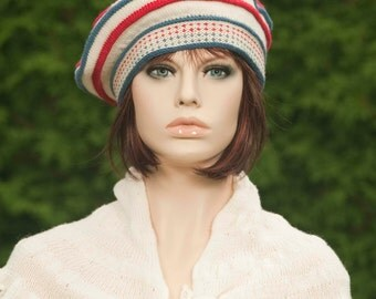 Knitted beret / tam white-cream color with colored pleats red, indigo, red pompom, for women, for girls, woolen.