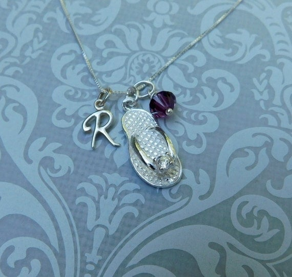 Sterling silver flip flop necklace, personalized jewelry,  summer fun necklace, birthstone necklace