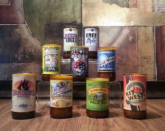 Beer Candle Handmade Gift choose Recycled Beer Bottle & Scent No Pedestal