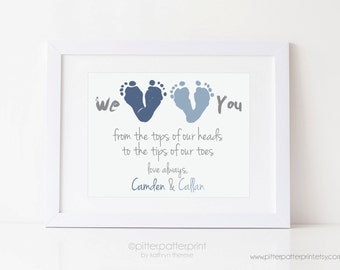 Father's Day Gift from Twins or Siblings, Gift for New Dad, We Love You Baby Footprint Art, Personalized with your Child's Feet, UNFRAMED