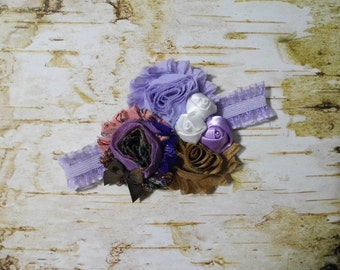 Baby Girl Headband, Purple, Shabby Flower 0-3 Months