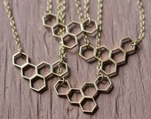 Discount - Honeycomb Necklace - Brass Honeycomb