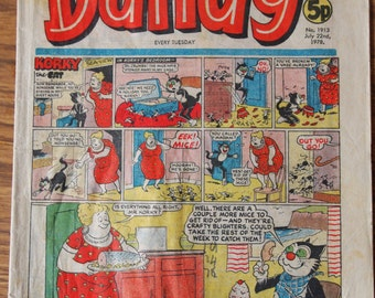 Sale / The Dandy magazine July 22nd 1978 / Vintage british comic book / Korky the Cat // Desperate Dan / July 22nd 1978 // gift idea