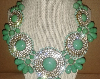 Mint Green Seafoam and Crystal Bib Statement Necklace - Statement Jewelry - Chunky Bib Statement Necklace