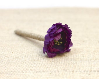 Guest Book Pen with Purple Poppy Flower // Rustic Vintage Fall Weddings // R2S