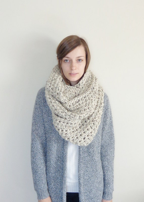 Oversized Knit Infinity Scarf // Chunky Knit by ...