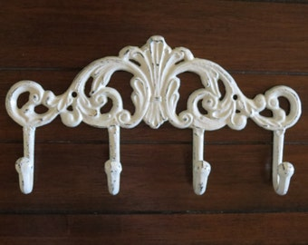 Wall Hook/Towel Hook / Coat Rack / Creamy White or Pick Your Color / Cast Iron Hook / Bathroom Hook/Shabby Chic /Metal Wall Hook/ Key Hanger