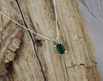 Green Topaz Pendant/Necklace, Sterling Silver Pendant/Necklace  - Sterling Silver Setting with a 8mm x 6mm Emerald Green Topaz Gemstone