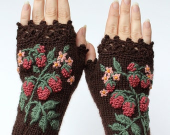 Knitted Fingerless Gloves, Raspberry, Brown, Gloves & Mittens, Gift Ideas, For Her, Winter Accessories,