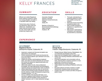 Medical Resume Template | CV Template | Resume Set  | Instant Download - Word and Indesign | Red Teal Blue |  FRANCES