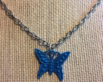 """18"""" Sky Blue Butterfly Necklace"""