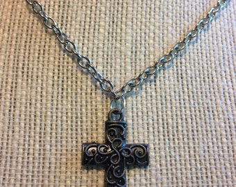 "20"" Silver Cross Necklace"