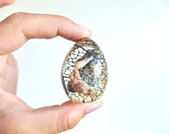 Vintage resin egg with inclusions: fiddler crab, mineral and plant, 1970s