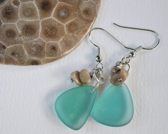 Lake Michigan Petoskey stone nugget and medium blue beach glass earrings, Up North Michigan, Lake Michigan