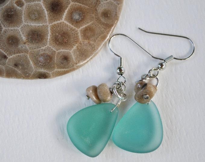 Lake Michigan Petoskey stone nugget and medium blue beach glass earrings, Up North Michigan, Lake Michigan