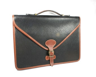 Vintage Black Canvas Tan Brown Leather Bag Briefcase Laptop Bag Handle Clasp Texier Made in France