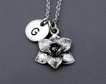 Magnolia flower necklace, Silver Magnolia flower charm, garden charm, Magnolia jewelry, initial necklace, personalized, monogram