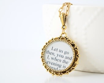 J. Alfred Prufrock Literary Necklace - Poetry Jewelry - T.S. Eliot Literary Quote Necklace - Poem - Poetry - Literature