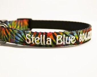 "Personalized - 3/4"" Tye Dye Dog Collar - Made to order"