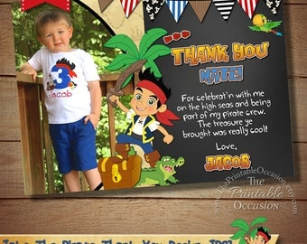 Jake and the Neverland Pirates Thank You Card,Jake and the Neverland Pirates Photo Thank You Card for Birthday Party