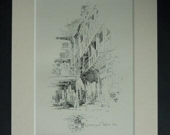 1903 Antique Cambridge Print of the Falcon Inn, Cambridgeshire Decor, Available Framed, Pub Art, Architectural Art, Courtyard Picture, Pepys
