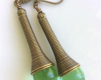 Light Green Glass Earrings  Bohemian Earrings  Long Dangle Earrings  Boho Earrings  Bronze Earrings  Gypsy Dangles