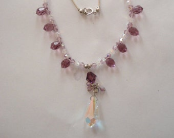 Vintage Sterling Necklace Lavender And Aurora Borealis Crystals 925 Chain And Fittings