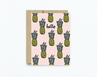 Pineapple Greeting Card. Thank You Card. Hello Friend Card. Blank Pineapple Card. All Occasion Card. Love Card. Card for Friend. #268