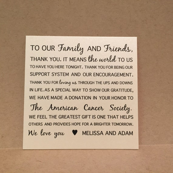 Wedding Favor Donation Cards Thank You Cards Placecards Signs