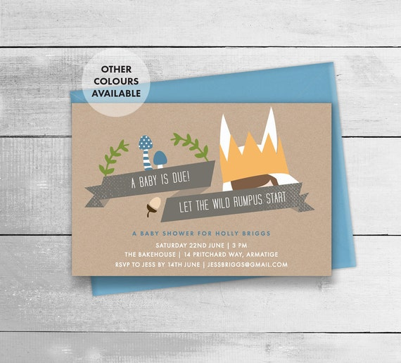 where the wild things are baby shower invitation printable wild