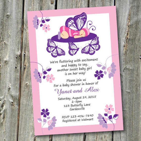 Butterfly Baby Shower Invites: Baby Butterfly Baby Shower Invitation