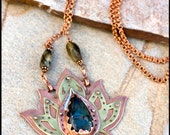 Lotus Necklace: Mixed Metal - Om Necklace - Lotus Flower Necklace - Power Crystals Necklace - Chakra Stone - Unique Pendant Lotus Statement