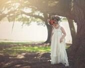 Flower Girl Dress, Rustic Flower Girl Dress, Lace Maxi Dress With Train, Ivory Maxi Dress, Ivory Flower Girl Dress, White Flower Girl Dress