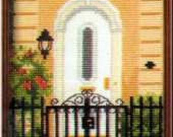 Barbara and Cheryl City Gardens Collection Four Counted Cross Stitch Charted Designs To Stitch Arched Door Gate With Lantern