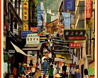 Art Print Hong Kong BOAC Flight Poster Print, 1960s  8 x 10