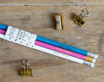 Lucky Pencil / Magic Pencil / Happy Pencil - Pack of 3 Jolly Good Pencils - Fun Birthday Present - Luxury Gold Foil Stationery