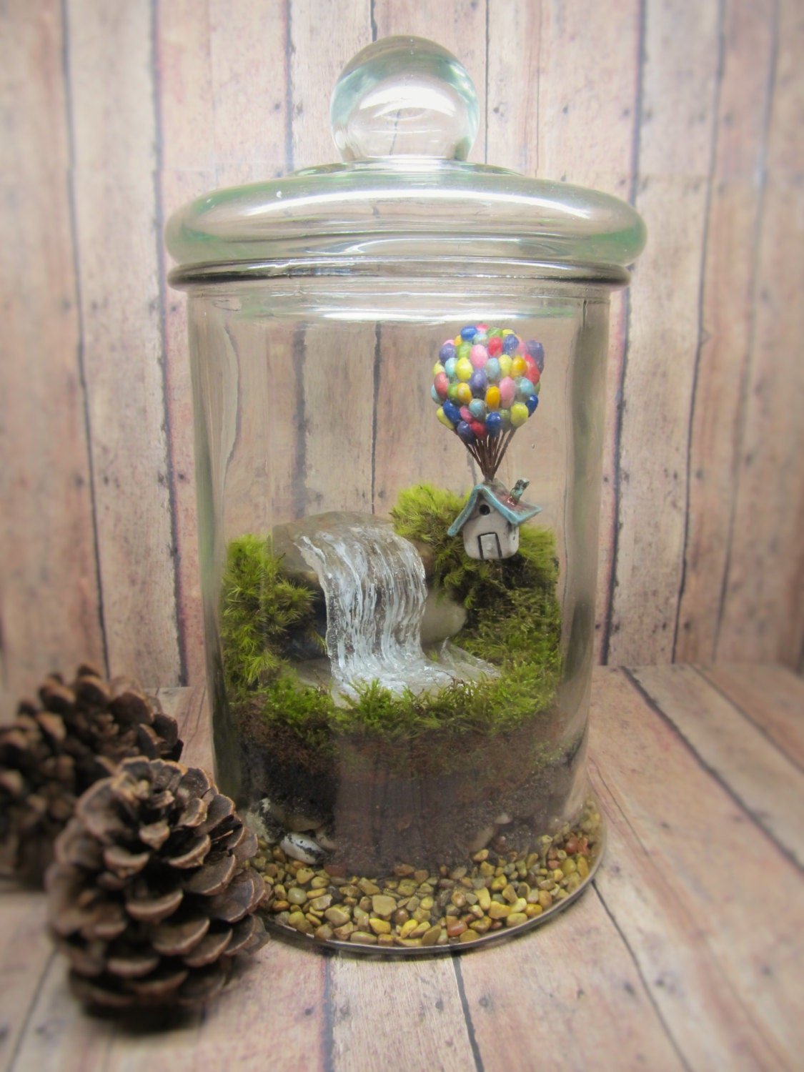 up up and away terrarium miniature up inspired terrarium with raku fired house balloons. Black Bedroom Furniture Sets. Home Design Ideas