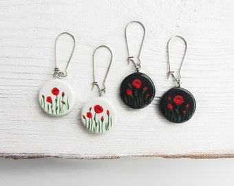 Red poppy earrings Bridesmaids jewelry Flower earrings Bridal gifts Ideas for girlfriend Poppies earrings White black red Present for woman