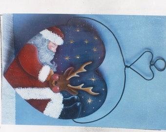 Tole Painting Pattern~~Sleepy Santa & Reindeer Wired Hanger~~Carolyn's Tole Beary Originals~~Painted Wood Pattern~~Folk Art Christmas Decor~