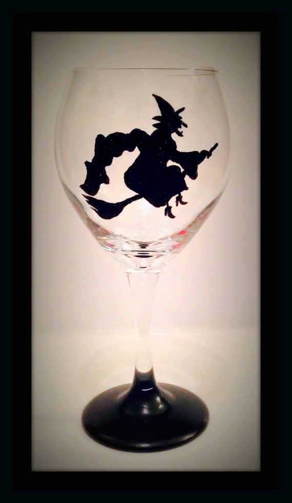 Halloween Hand Painted Wine Glasses Witch Wine Glasses